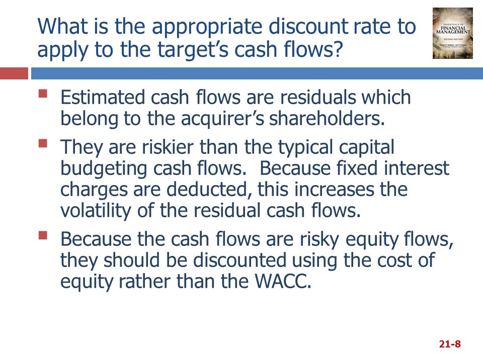 What is the appropriate discount rate to apply to the target's cash flows?  Estimated cash flows are residuals which belong to the acquirer's shareho