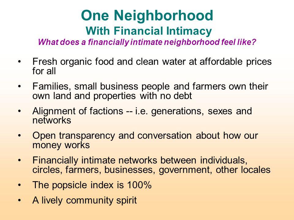 One Neighborhood With Financial Intimacy What does a financially intimate neighborhood feel like.