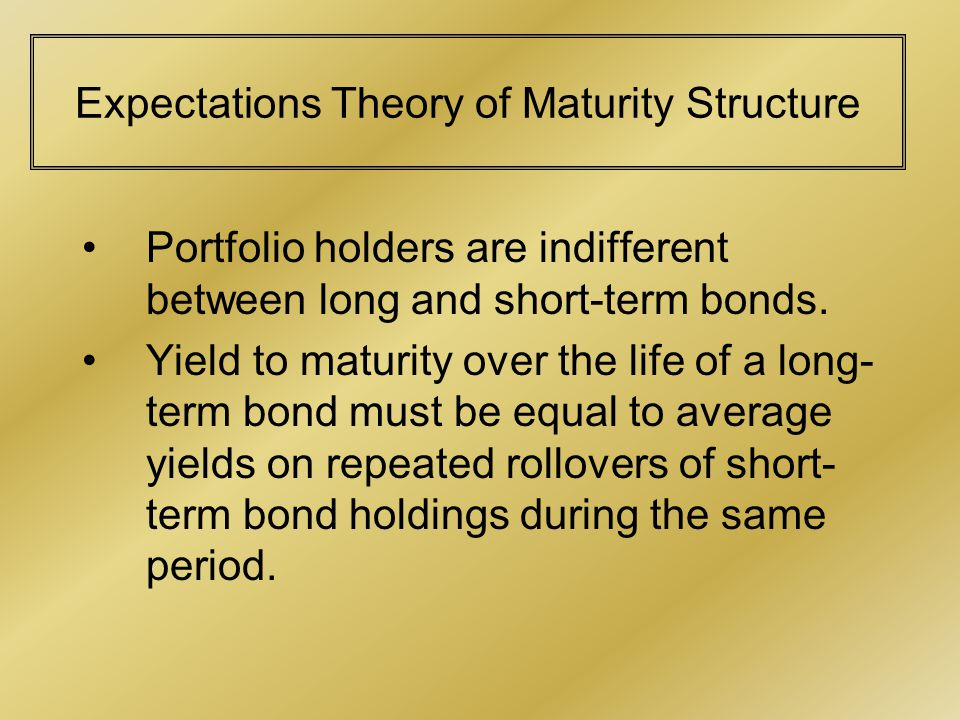 Expectations Theory of Maturity Structure Portfolio holders are indifferent between long and short-term bonds.