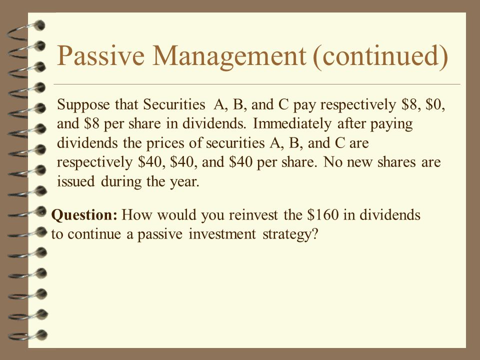 Suppose that Securities A, B, and C pay respectively $8, $0, and $8 per share in dividends.