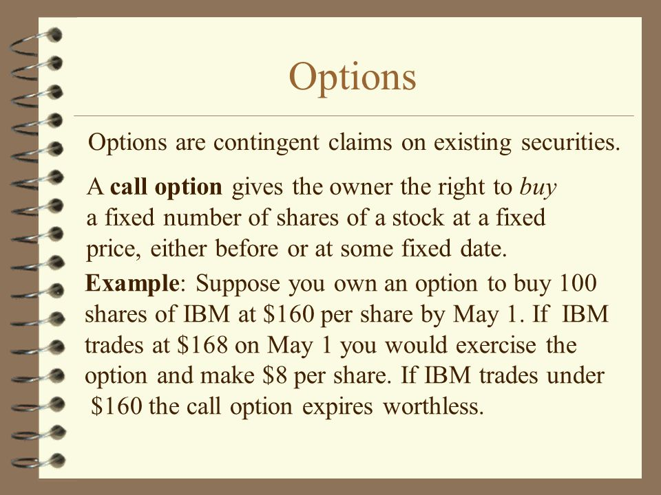 Options Options are contingent claims on existing securities.