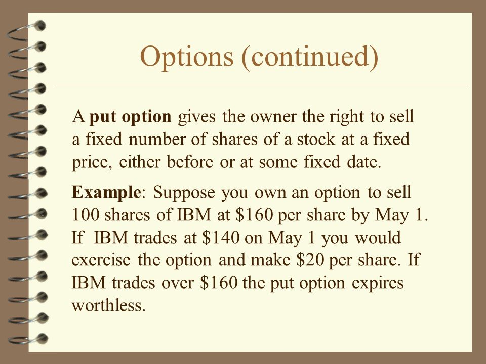 Options (continued) A put option gives the owner the right to sell a fixed number of shares of a stock at a fixed price, either before or at some fixed date.