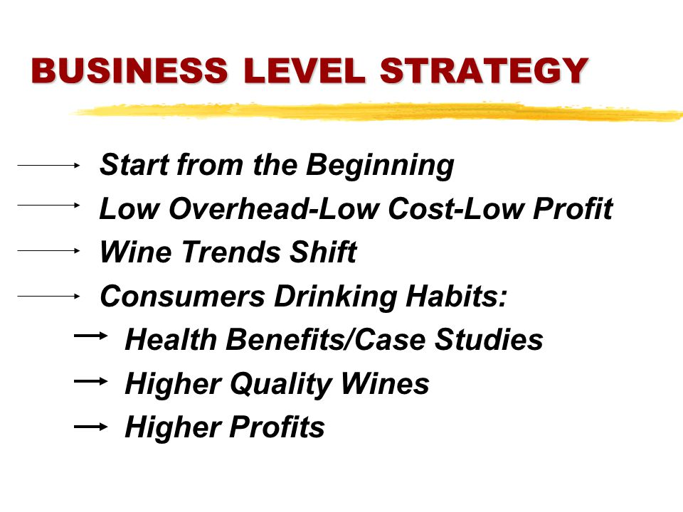 BUSINESS LEVEL STRATEGY Start from the Beginning Low Overhead-Low Cost-Low Profit Wine Trends Shift Consumers Drinking Habits: Health Benefits/Case Studies Higher Quality Wines Higher Profits