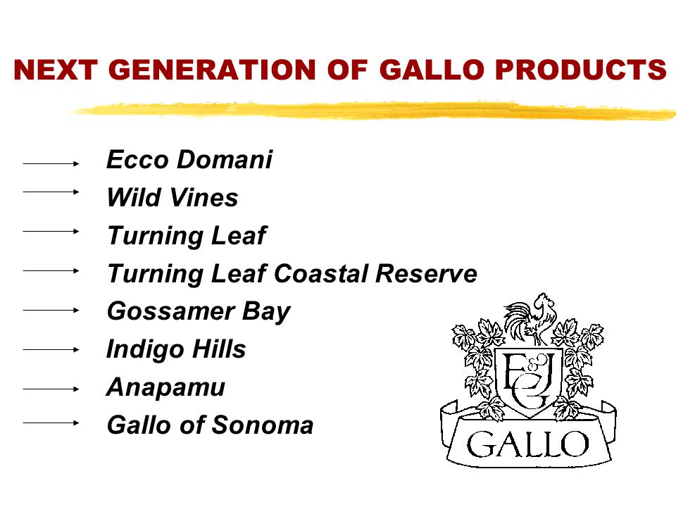 NEXT GENERATION OF GALLO PRODUCTS Ecco Domani Wild Vines Turning Leaf Turning Leaf Coastal Reserve Gossamer Bay Indigo Hills Anapamu Gallo of Sonoma