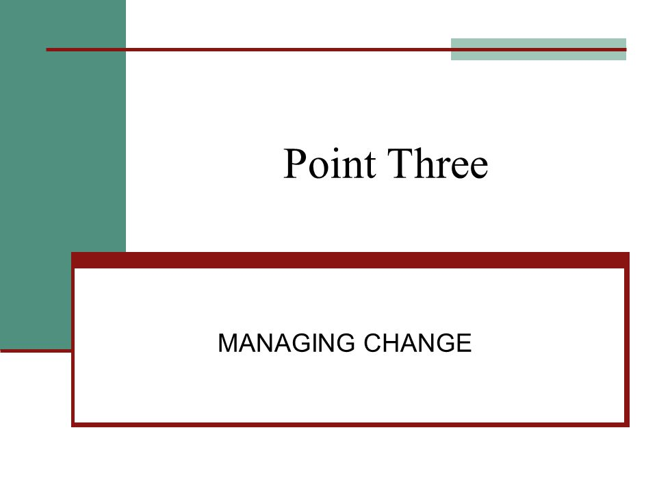 Point Three MANAGING CHANGE