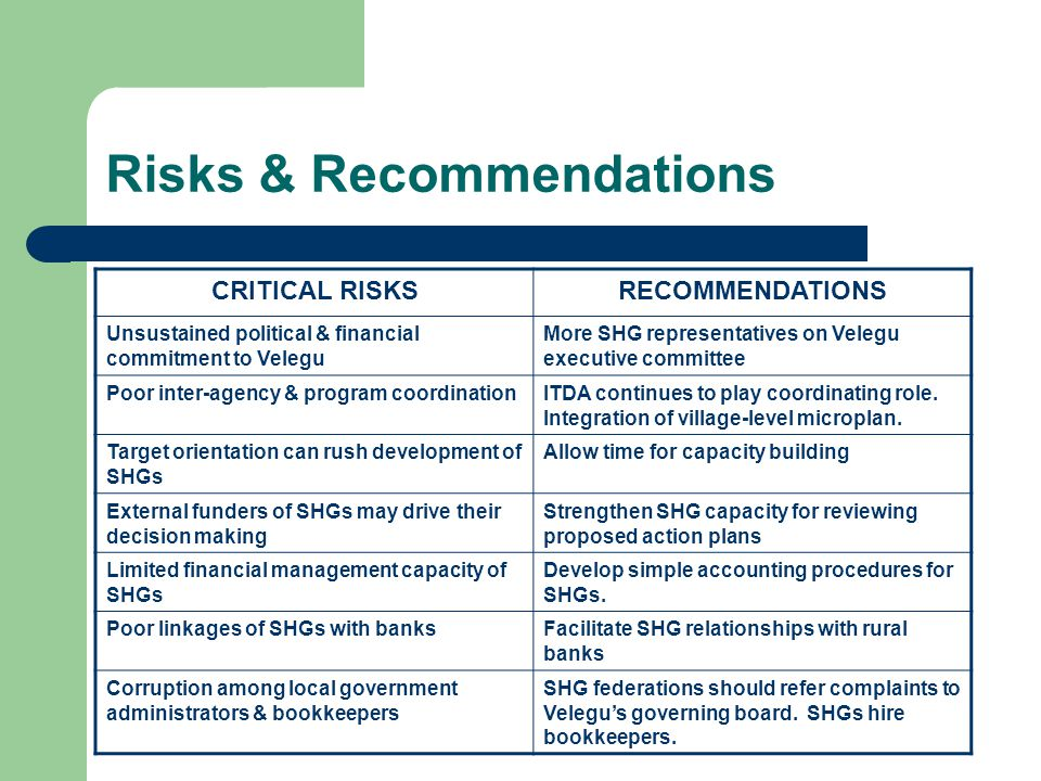 Risks & Recommendations CRITICAL RISKSRECOMMENDATIONS Unsustained political & financial commitment to Velegu More SHG representatives on Velegu executive committee Poor inter-agency & program coordinationITDA continues to play coordinating role.