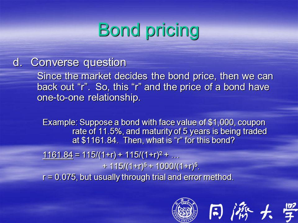Bond pricing d.