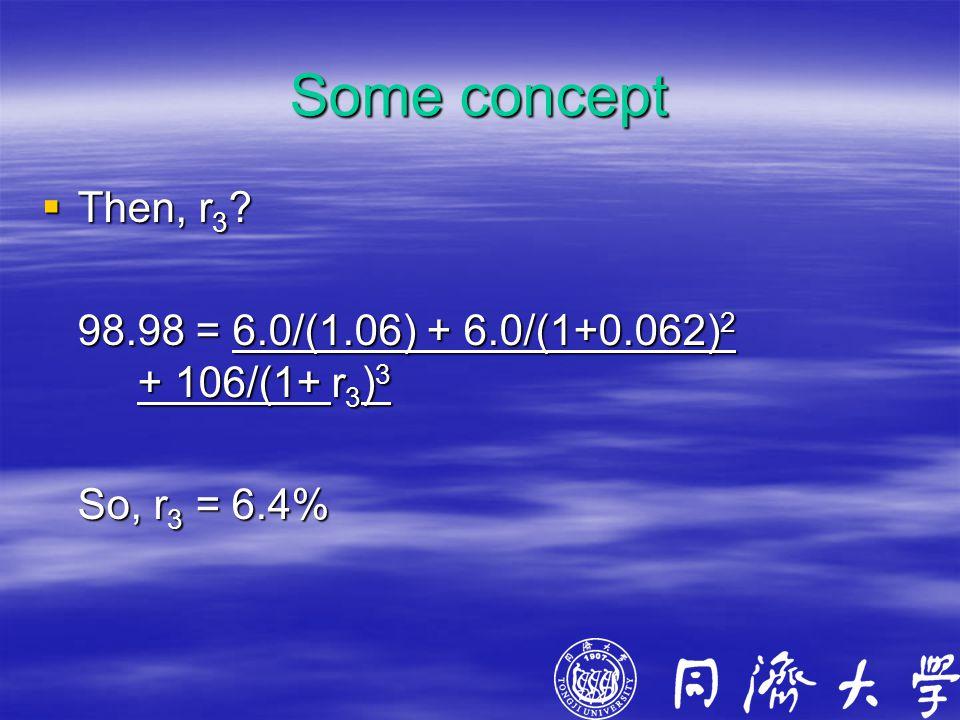 Some concept  Then, r 3 ? 98.98 = 6.0/(1.06) + 6.0/(1+0.062) 2 + 106/(1+ r 3 ) 3 So, r 3 = 6.4%