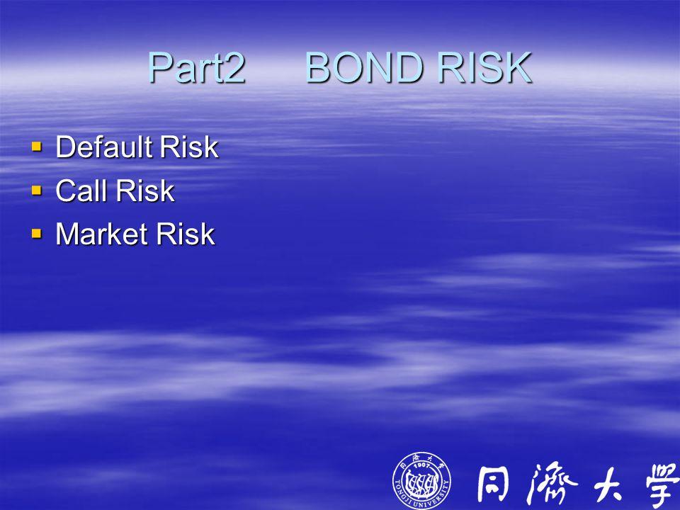 Part2 BOND RISK  Default Risk  Call Risk  Market Risk