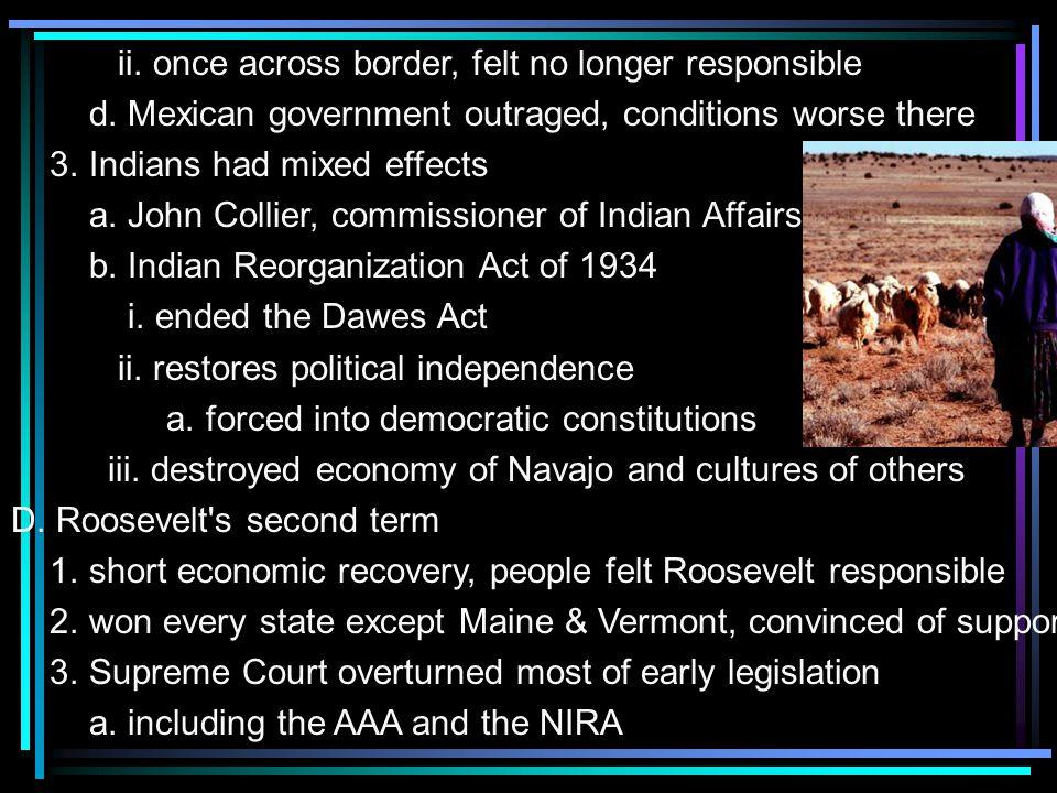 ii. once across border, felt no longer responsible d.