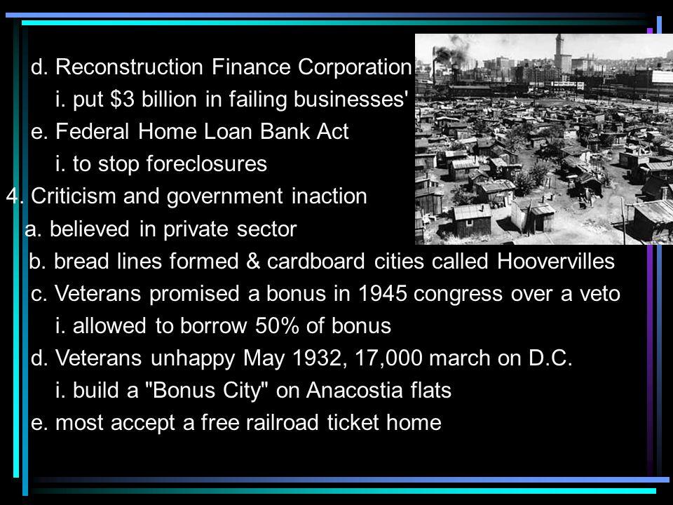 d. Reconstruction Finance Corporation i. put $3 billion in failing businesses e.