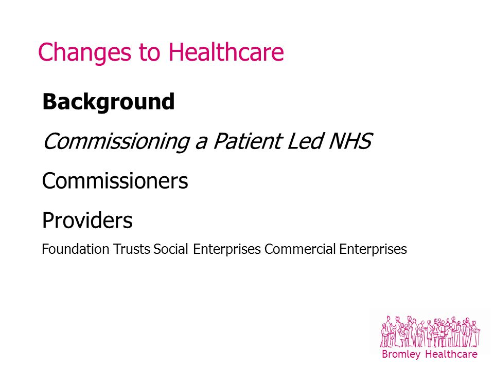 Changes to Healthcare Background Commissioning a Patient Led NHS Commissioners Providers Foundation Trusts Social Enterprises Commercial Enterprises