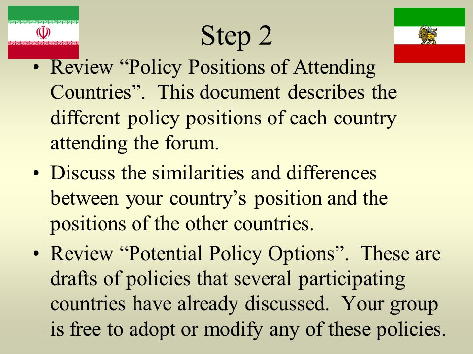 Step 2 Review Policy Positions of Attending Countries .