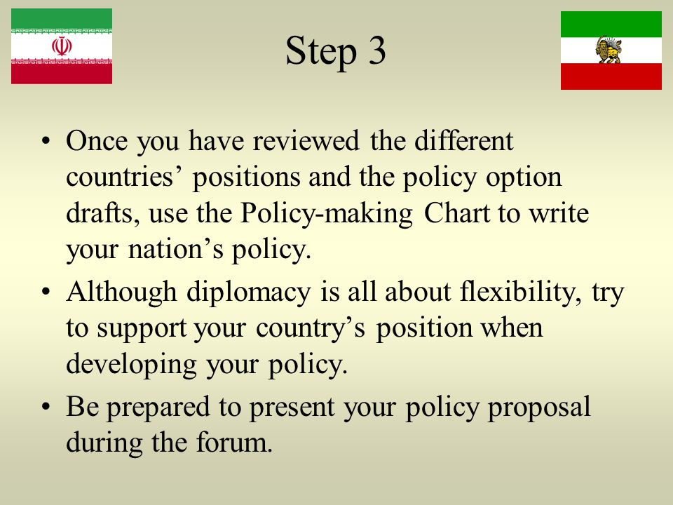 Step 3 Once you have reviewed the different countries' positions and the policy option drafts, use the Policy-making Chart to write your nation's policy.
