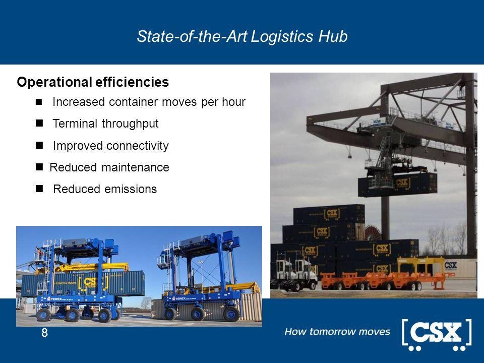 8 State-of-the-Art Logistics Hub Operational efficiencies Increased container moves per hour Terminal throughput Improved connectivity Reduced mainten