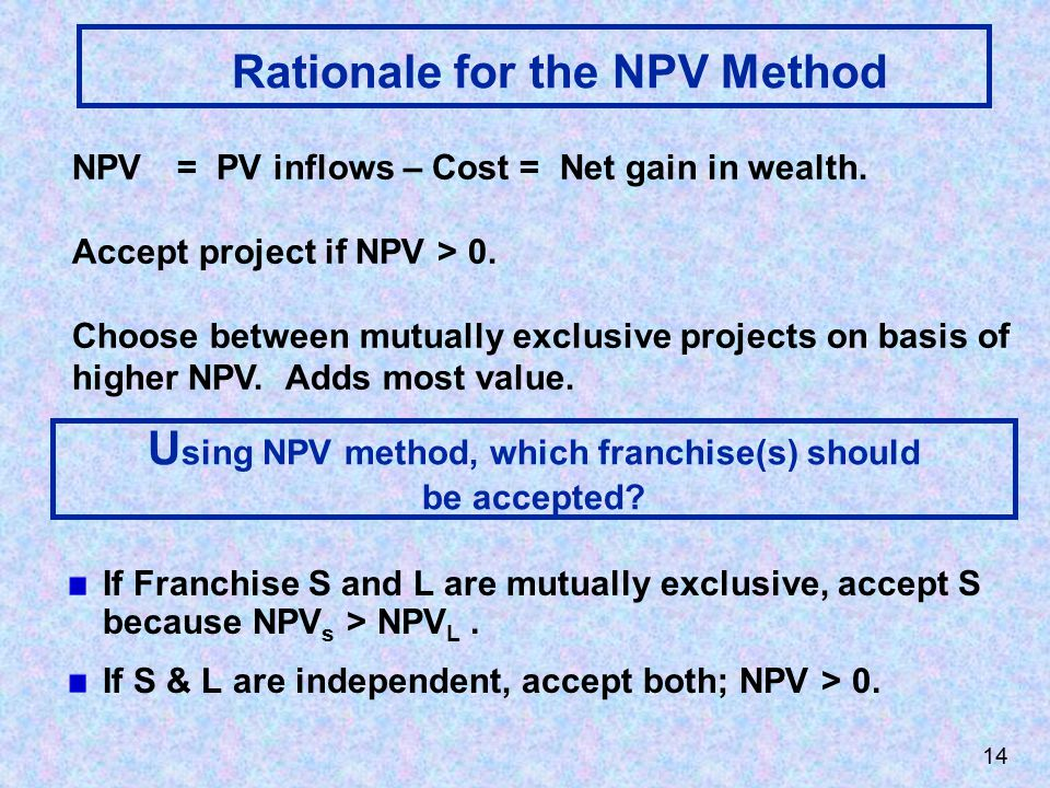 Rationale for the NPV Method NPV= PV inflows – Cost = Net gain in wealth.