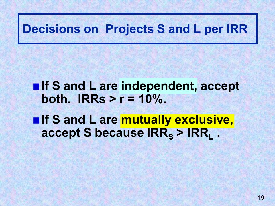 19 Decisions on Projects S and L per IRR If S and L are independent, accept both.