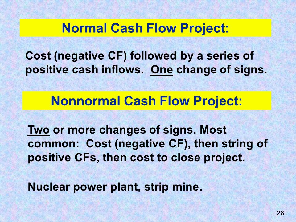 Normal Cash Flow Project: Cost (negative CF) followed by a series of positive cash inflows.