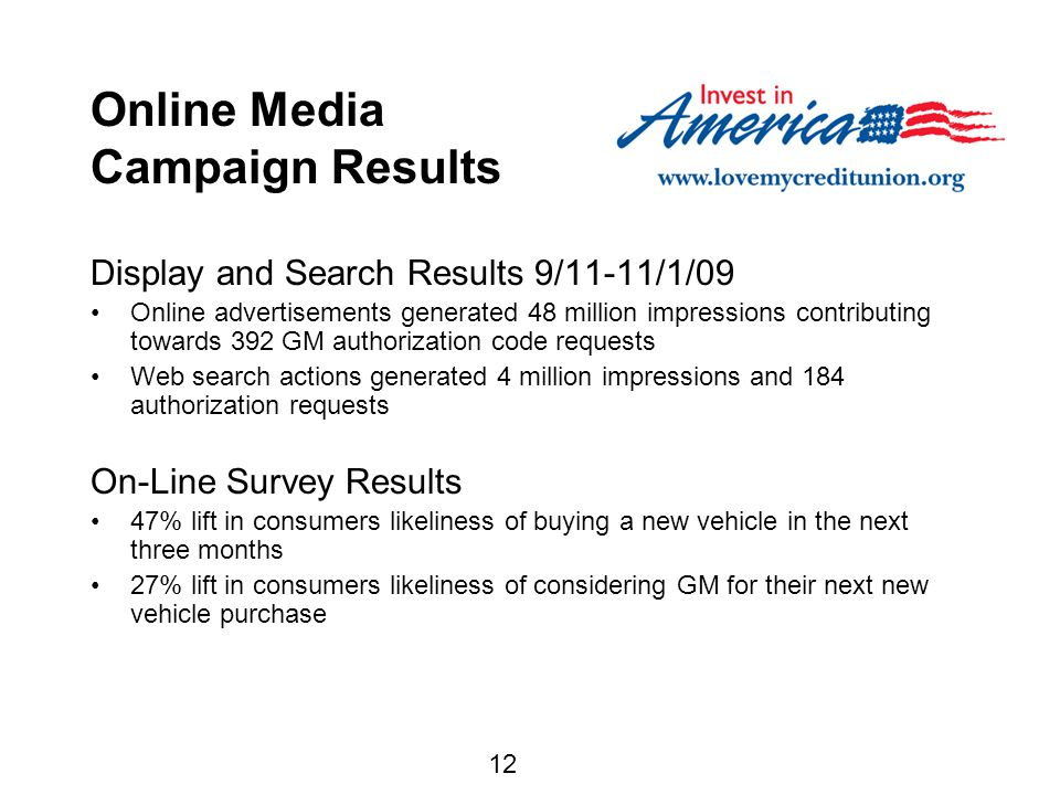 12 Online Media Campaign Results Display and Search Results 9/11-11/1/09 Online advertisements generated 48 million impressions contributing towards 392 GM authorization code requests Web search actions generated 4 million impressions and 184 authorization requests On-Line Survey Results 47% lift in consumers likeliness of buying a new vehicle in the next three months 27% lift in consumers likeliness of considering GM for their next new vehicle purchase