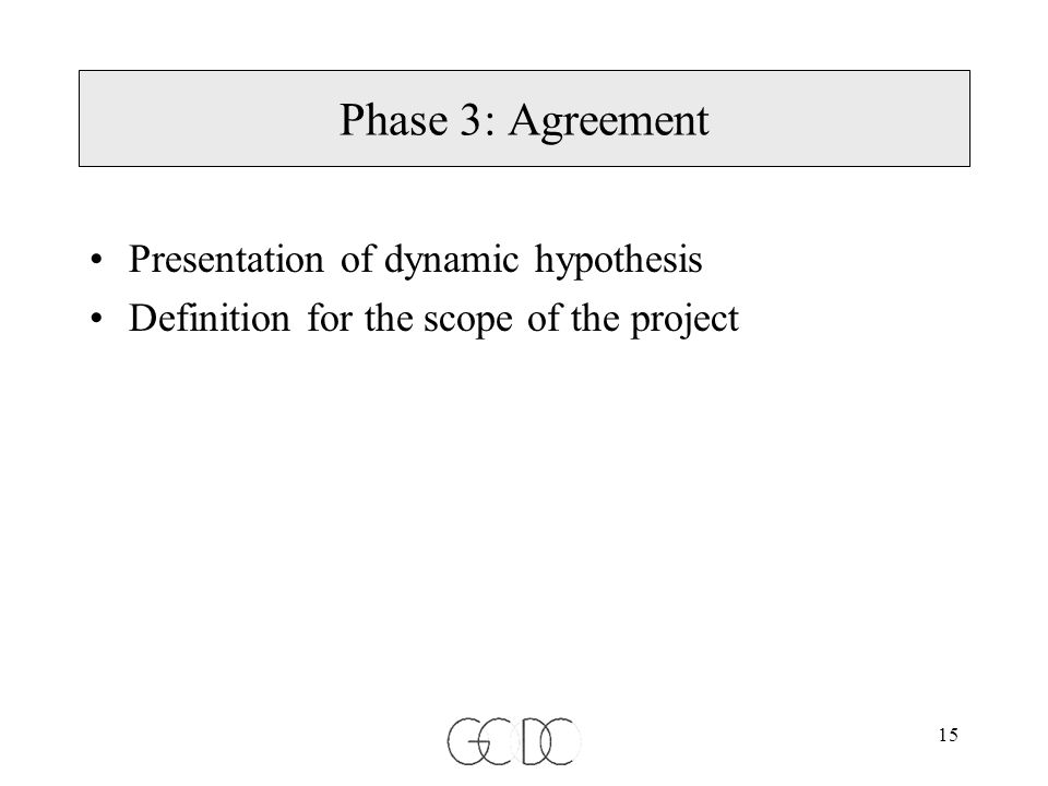 15 Phase 3: Agreement Presentation of dynamic hypothesis Definition for the scope of the project