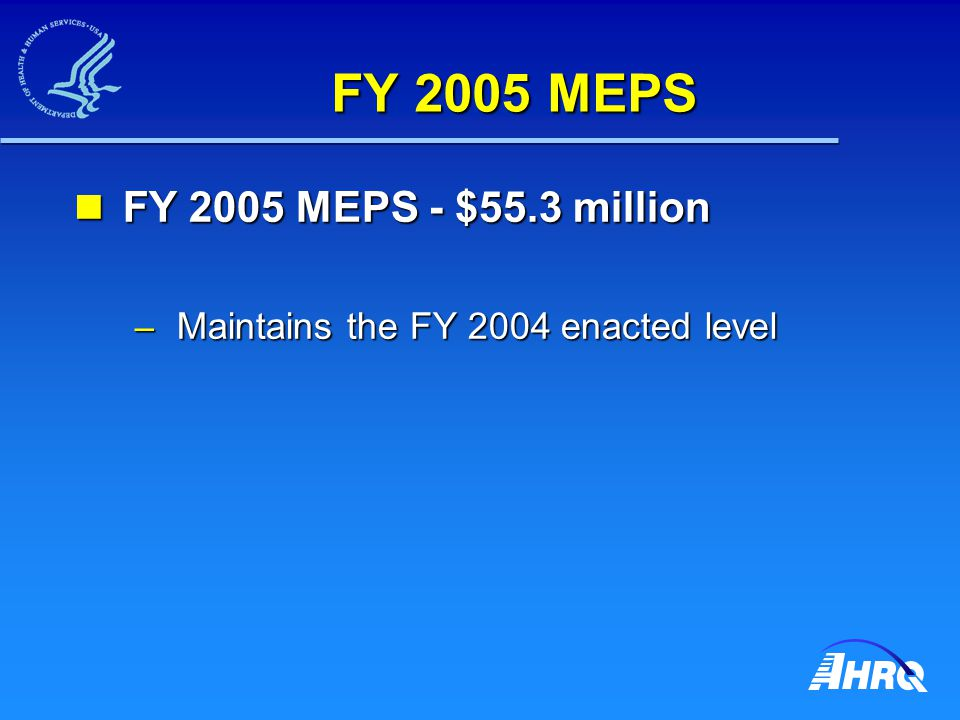 FY 2005 MEPS FY 2005 MEPS - $55.3 million FY 2005 MEPS - $55.3 million – Maintains the FY 2004 enacted level