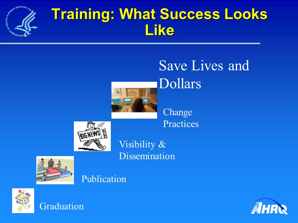 Training: What Success Looks Like Graduation Publication Visibility & Dissemination Change Practices Save Lives and Dollars