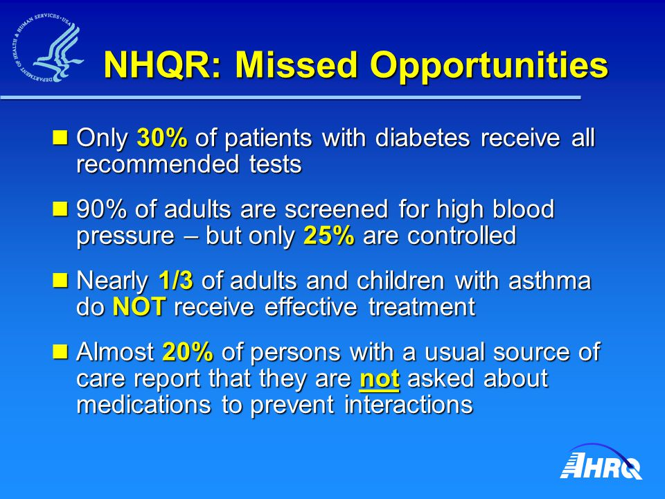 NHQR: Missed Opportunities Only 30% of patients with diabetes receive all recommended tests Only 30% of patients with diabetes receive all recommended