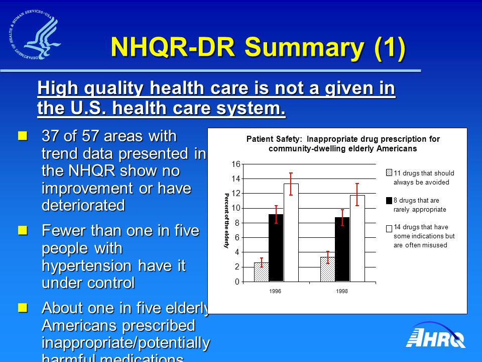NHQR-DR Summary (1) 37 of 57 areas with trend data presented in the NHQR show no improvement or have deteriorated 37 of 57 areas with trend data prese