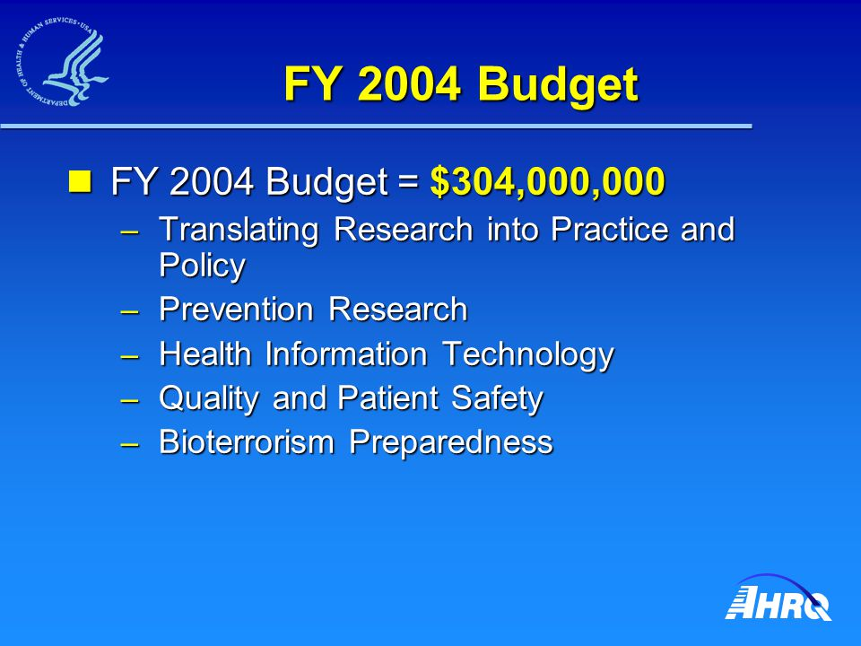FY 2004 Budget FY 2004 Budget = $304,000,000 FY 2004 Budget = $304,000,000 – Translating Research into Practice and Policy – Prevention Research – Health Information Technology – Quality and Patient Safety – Bioterrorism Preparedness