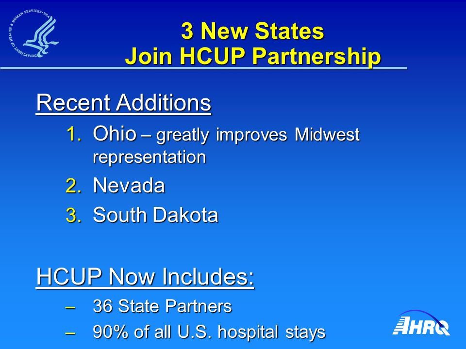 3 New States Join HCUP Partnership Recent Additions 1.