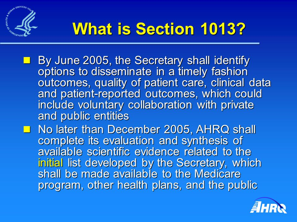 What is Section 1013? By June 2005, the Secretary shall identify options to disseminate in a timely fashion outcomes, quality of patient care, clinica