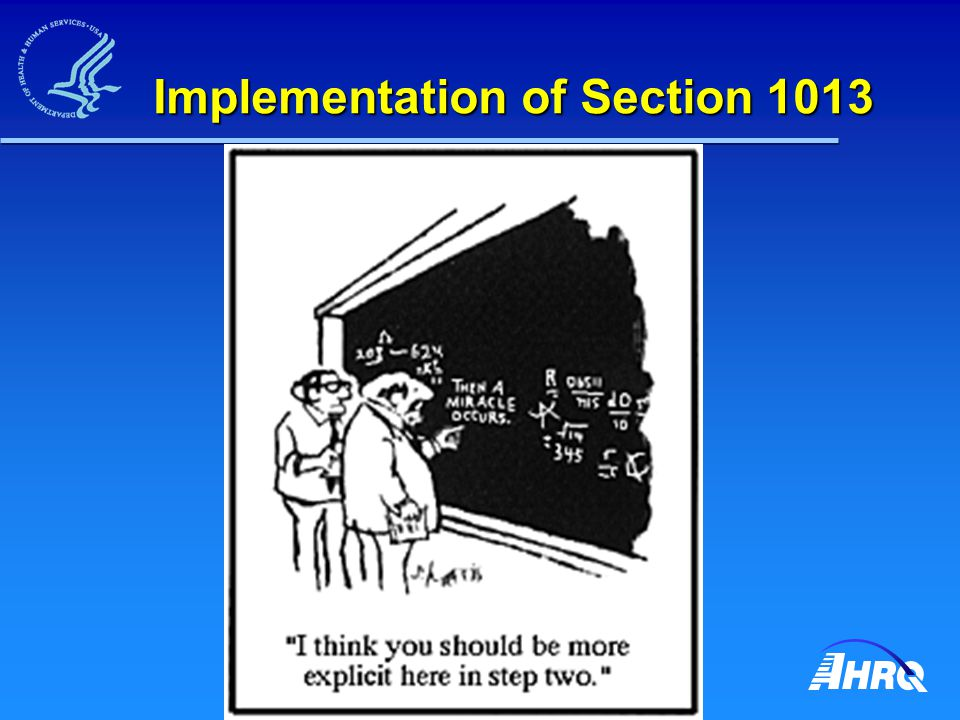 Implementation of Section 1013