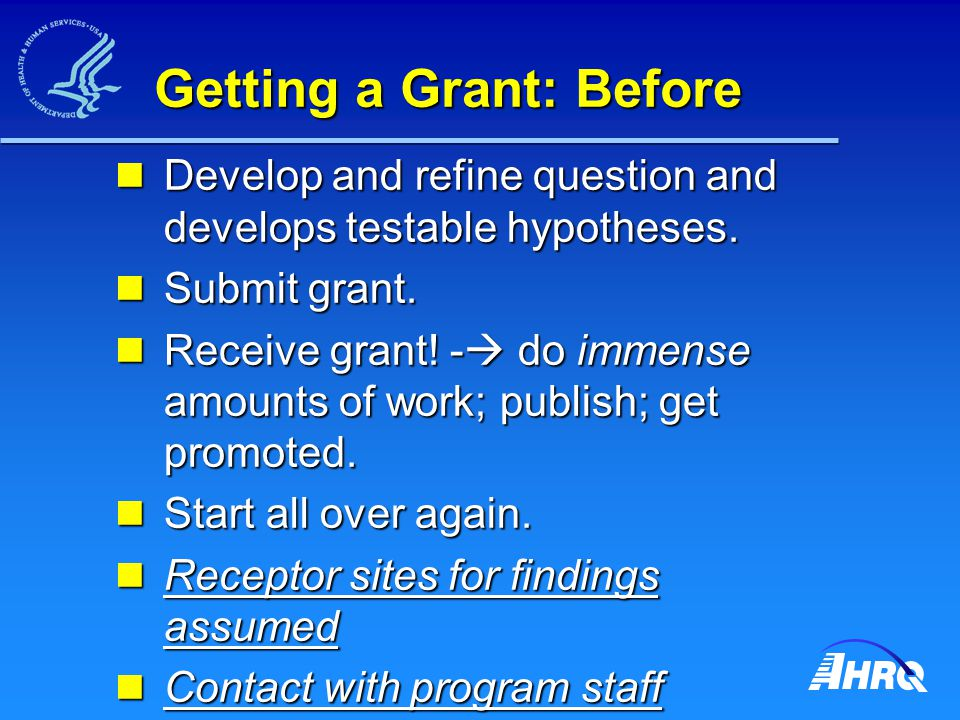 Getting a Grant: Before Develop and refine question and develops testable hypotheses.