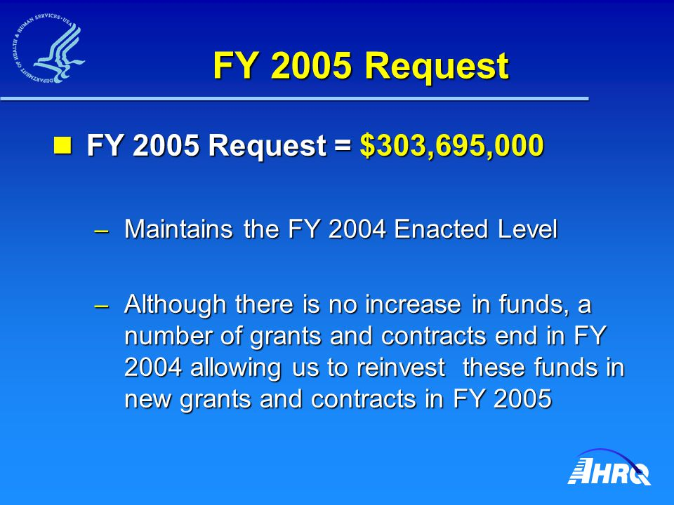 FY 2005 Patient Safety FY 2005 Patient Safety = $84 Million FY 2005 Patient Safety = $84 Million – An increase of $4.5 M over FY 2004 – Continues funding of the $50 M Patient Safety Health Care Information Technology (IT) Program $7 M in planning grants end in FY 2004.