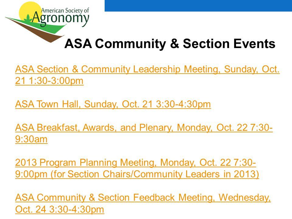 ASA Community & Section Events ASA Section & Community Leadership Meeting, Sunday, Oct.