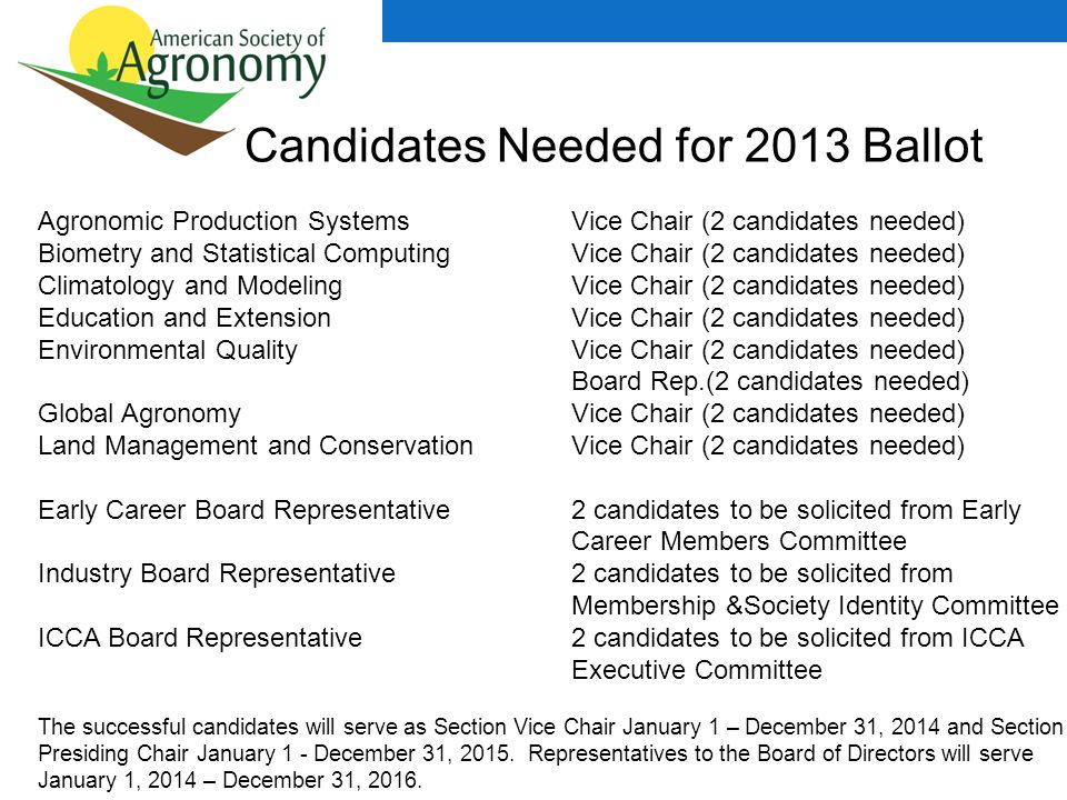 Candidates Needed for 2013 Ballot Agronomic Production Systems Vice Chair (2 candidates needed) Biometry and Statistical Computing Vice Chair (2 candidates needed) Climatology and Modeling Vice Chair (2 candidates needed) Education and Extension Vice Chair (2 candidates needed) Environmental Quality Vice Chair (2 candidates needed) Board Rep.(2 candidates needed) Global Agronomy Vice Chair (2 candidates needed) Land Management and Conservation Vice Chair (2 candidates needed) Early Career Board Representative2 candidates to be solicited from Early Career Members Committee Industry Board Representative2 candidates to be solicited from Membership &Society Identity Committee ICCA Board Representative2 candidates to be solicited from ICCA Executive Committee The successful candidates will serve as Section Vice Chair January 1 – December 31, 2014 and Section Presiding Chair January 1 - December 31, 2015.