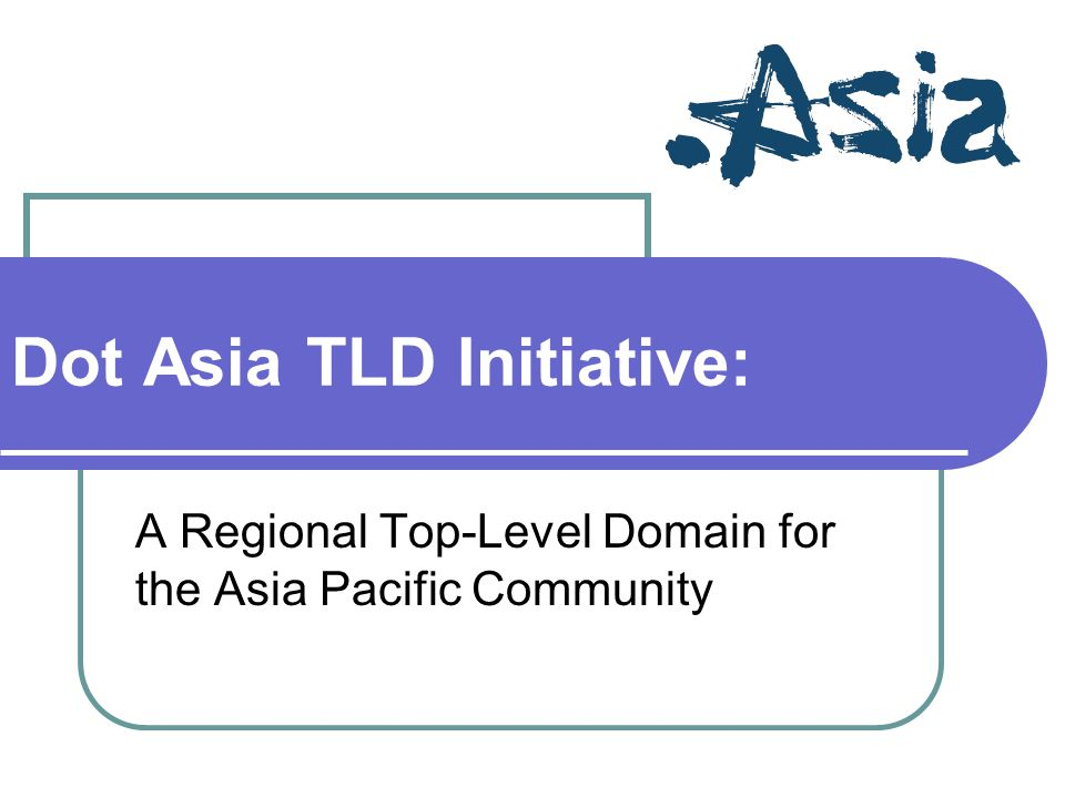 Dot Asia TLD Initiative: A Regional Top-Level Domain for the Asia Pacific Community