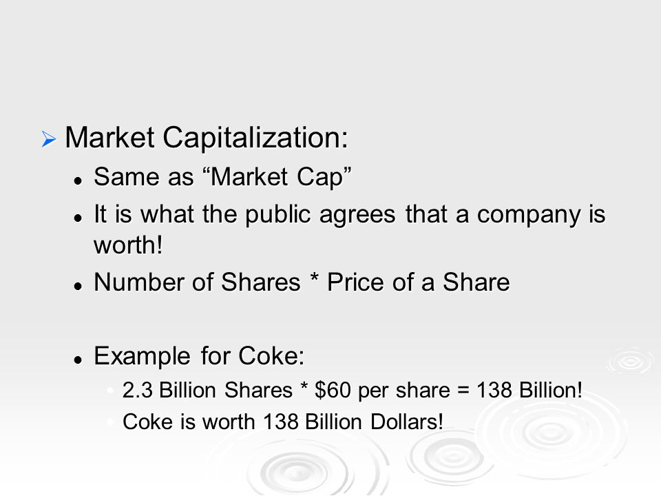  Market Capitalization: Same as Market Cap Same as Market Cap It is what the public agrees that a company is worth.