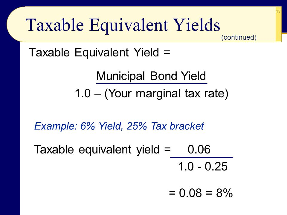 17 Taxable Equivalent Yield = Municipal Bond Yield 1.0 – (Your marginal tax rate) Example: 6% Yield, 25% Tax bracket Taxable equivalent yield = 0.06 1.0 - 0.25 = 0.08 = 8% Taxable Equivalent Yields (continued)