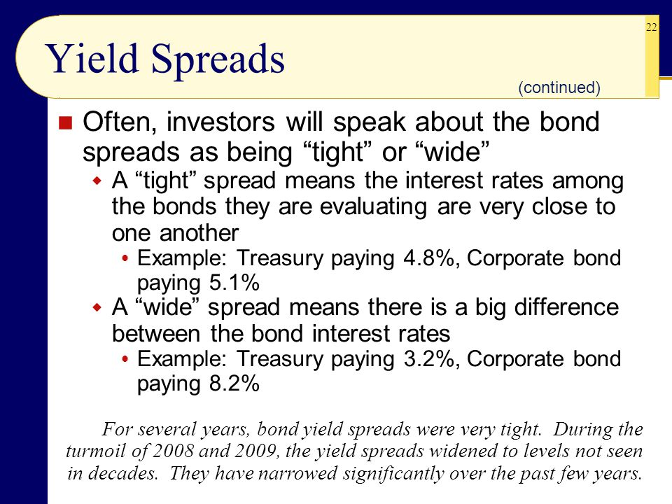 22 Yield Spreads Often, investors will speak about the bond spreads as being tight or wide  A tight spread means the interest rates among the bonds they are evaluating are very close to one another  Example: Treasury paying 4.8%, Corporate bond paying 5.1%  A wide spread means there is a big difference between the bond interest rates  Example: Treasury paying 3.2%, Corporate bond paying 8.2% (continued) For several years, bond yield spreads were very tight.