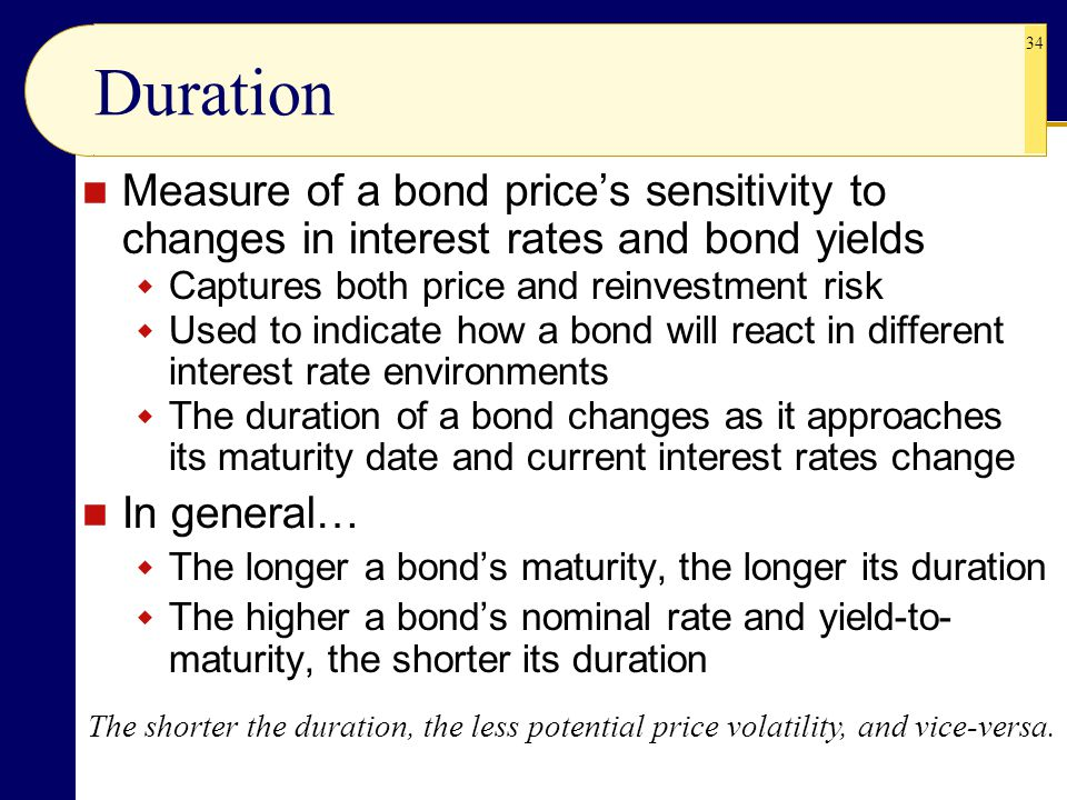 34 Duration The shorter the duration, the less potential price volatility, and vice-versa.