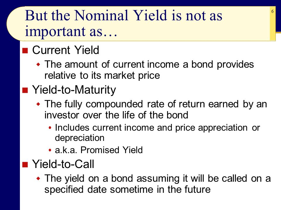 6 But the Nominal Yield is not as important as… Current Yield  The amount of current income a bond provides relative to its market price Yield-to-Maturity  The fully compounded rate of return earned by an investor over the life of the bond  Includes current income and price appreciation or depreciation  a.k.a.