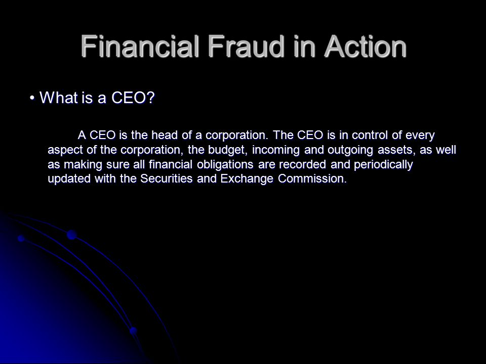 Financial Fraud in Action What is a CEO. What is a CEO.