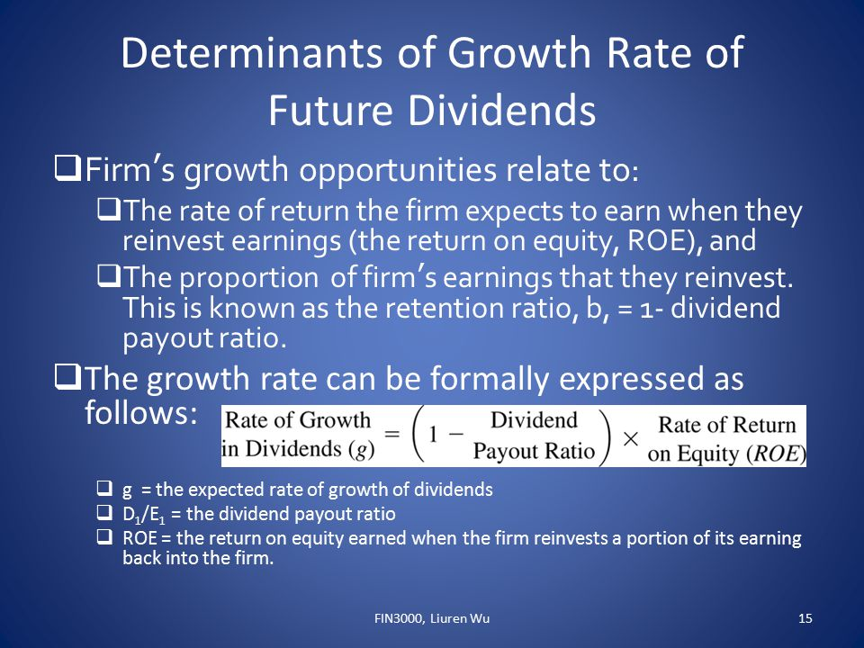 Determinants of Growth Rate of Future Dividends  Firm's growth opportunities relate to:  The rate of return the firm expects to earn when they reinv