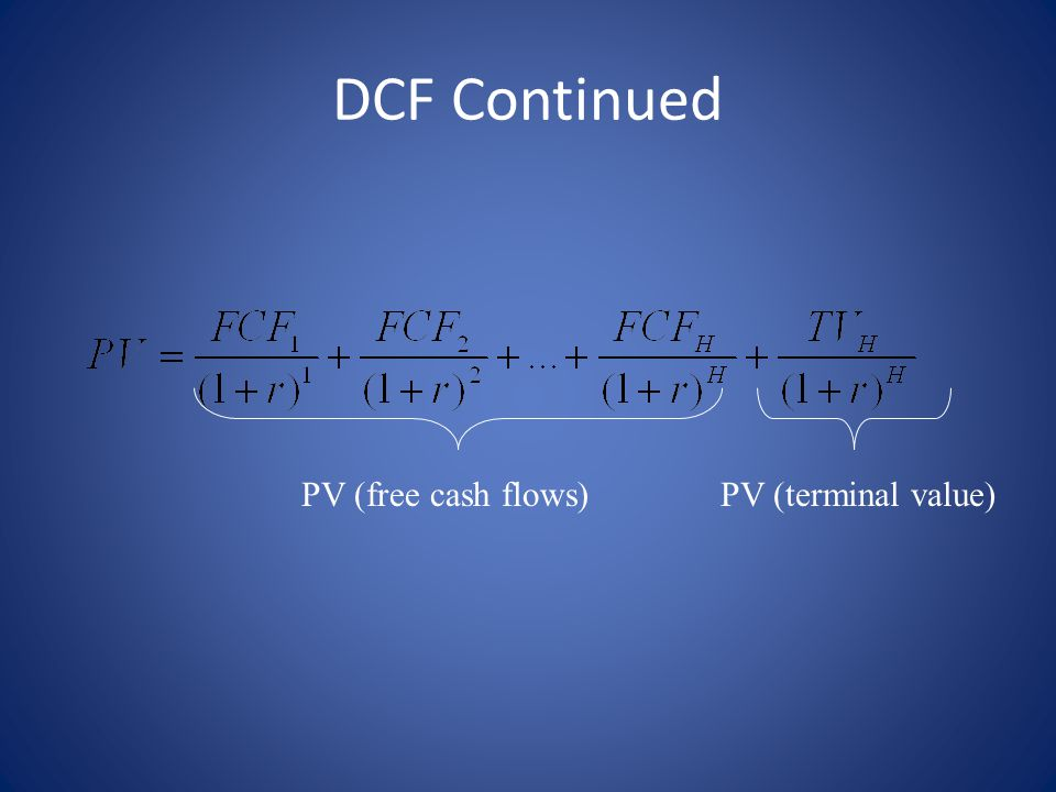 DCF Continued PV (free cash flows)PV (terminal value)