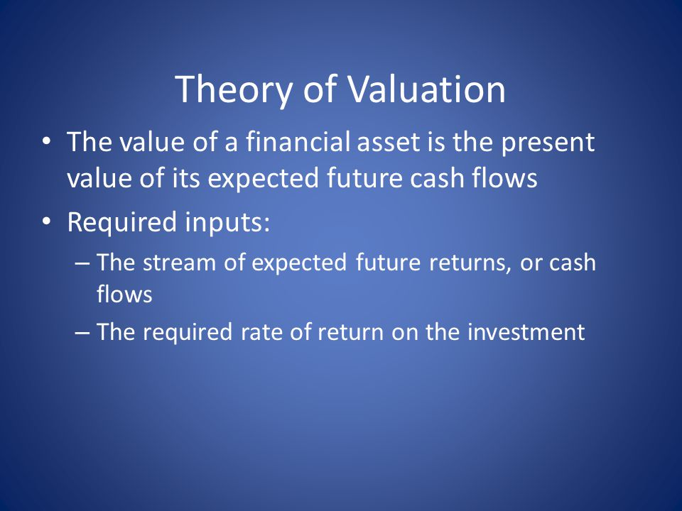 Theory of Valuation The value of a financial asset is the present value of its expected future cash flows Required inputs: – The stream of expected future returns, or cash flows – The required rate of return on the investment