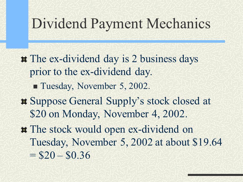 Dividend Payment Mechanics Declaration Date Ex-Dividend Date Record Date Payment Date December 9, 2002November 5, 2002October 15, 2002November 7, 2002 ……