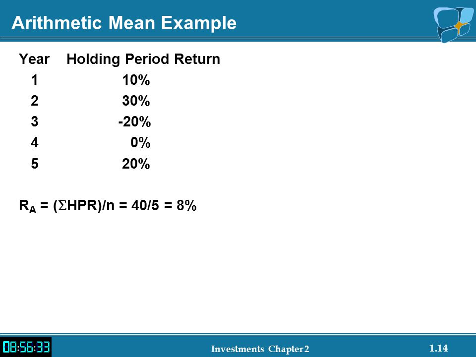 1.14 Investments Chapter 2 Arithmetic Mean Example YearHolding Period Return 1 10% 2 30% 3 -20% 4 0% 5 20% R A = (  HPR)/n = 40/5 = 8%