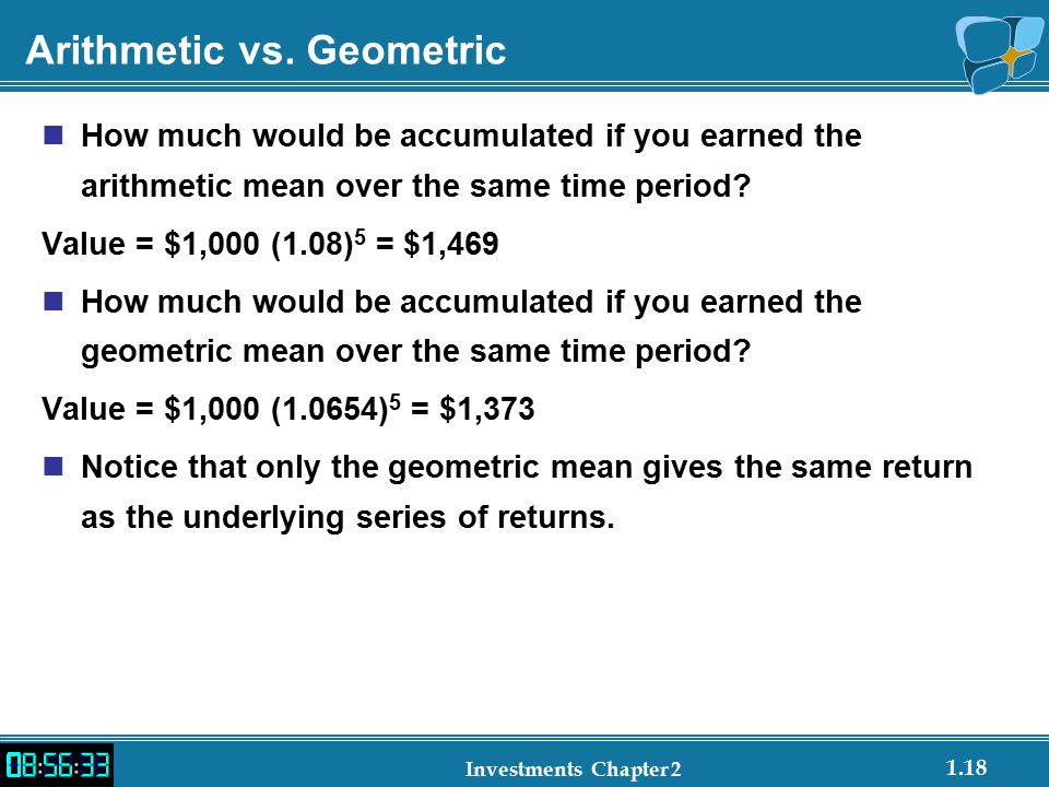1.18 Investments Chapter 2 Arithmetic vs.
