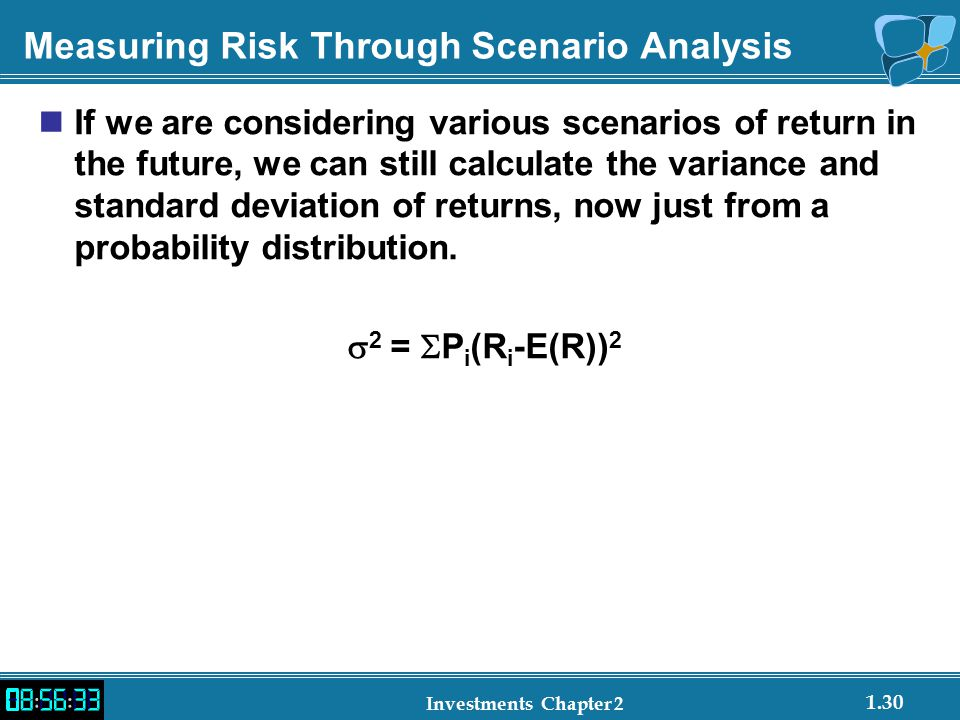 1.30 Investments Chapter 2 Measuring Risk Through Scenario Analysis If we are considering various scenarios of return in the future, we can still calculate the variance and standard deviation of returns, now just from a probability distribution.